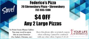 Shrewsbury Pizza coupon at Federicos Pizza