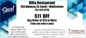 Villa Restaurant & Pizzeria Middletown NJ